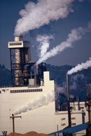 Picture of smokestacks; Actual size=130 pixels wide